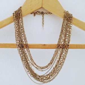 Chico's Multi Strand Gold Necklace Layered Rustic